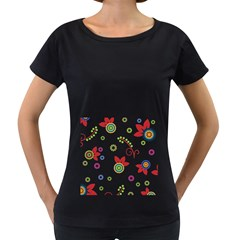 Colorful Floral Wallpaper Background Pattern Women s Loose Fit T Shirt (black)