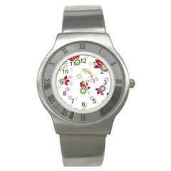 Colorful Floral Wallpaper Background Pattern Stainless Steel Watch