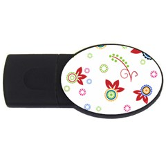 Colorful Floral Wallpaper Background Pattern Usb Flash Drive Oval (4 Gb)