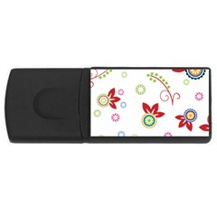 Colorful Floral Wallpaper Background Pattern Usb Flash Drive Rectangular (4 Gb)
