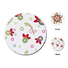 Colorful Floral Wallpaper Background Pattern Playing Cards (round)