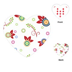 Colorful Floral Wallpaper Background Pattern Playing Cards (heart)