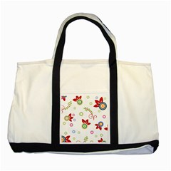 Colorful Floral Wallpaper Background Pattern Two Tone Tote Bag