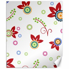 Colorful Floral Wallpaper Background Pattern Canvas 8  X 10