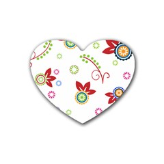 Colorful Floral Wallpaper Background Pattern Rubber Coaster (heart)