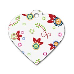 Colorful Floral Wallpaper Background Pattern Dog Tag Heart (two Sides)