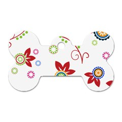 Colorful Floral Wallpaper Background Pattern Dog Tag Bone (Two Sides)