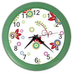 Colorful Floral Wallpaper Background Pattern Color Wall Clocks