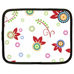 Colorful Floral Wallpaper Background Pattern Netbook Case (large)