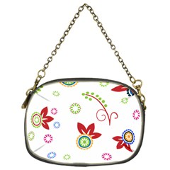 Colorful Floral Wallpaper Background Pattern Chain Purses (One Side)