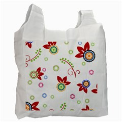 Colorful Floral Wallpaper Background Pattern Recycle Bag (Two Side)