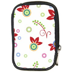 Colorful Floral Wallpaper Background Pattern Compact Camera Cases