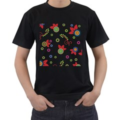 Colorful Floral Wallpaper Background Pattern Men s T Shirt (black)