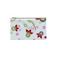 Colorful Floral Wallpaper Background Pattern Cosmetic Bag (small)