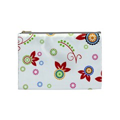 Colorful Floral Wallpaper Background Pattern Cosmetic Bag (medium)