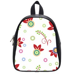 Colorful Floral Wallpaper Background Pattern School Bags (small)