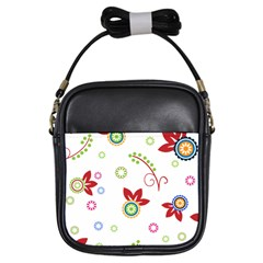Colorful Floral Wallpaper Background Pattern Girls Sling Bags