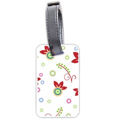 Colorful Floral Wallpaper Background Pattern Luggage Tags (two Sides)