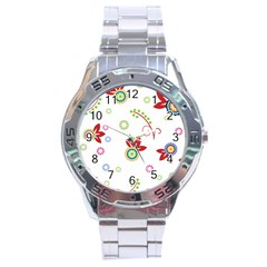 Colorful Floral Wallpaper Background Pattern Stainless Steel Analogue Watch
