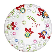Colorful Floral Wallpaper Background Pattern Ornament (round Filigree)