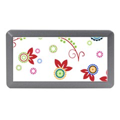 Colorful Floral Wallpaper Background Pattern Memory Card Reader (mini)