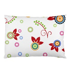 Colorful Floral Wallpaper Background Pattern Pillow Case (Two Sides)