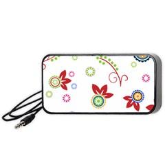 Colorful Floral Wallpaper Background Pattern Portable Speaker (black)