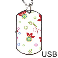 Colorful Floral Wallpaper Background Pattern Dog Tag Usb Flash (two Sides)