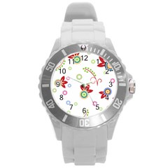 Colorful Floral Wallpaper Background Pattern Round Plastic Sport Watch (L)