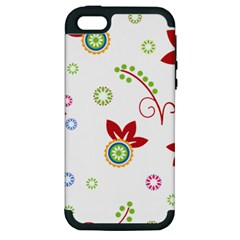 Colorful Floral Wallpaper Background Pattern Apple Iphone 5 Hardshell Case (pc+silicone)
