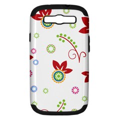 Colorful Floral Wallpaper Background Pattern Samsung Galaxy S III Hardshell Case (PC+Silicone)