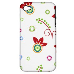Colorful Floral Wallpaper Background Pattern Apple Iphone 4/4s Hardshell Case (pc+silicone)