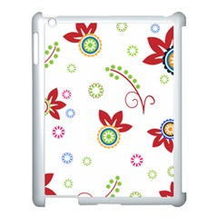 Colorful Floral Wallpaper Background Pattern Apple Ipad 3/4 Case (white)