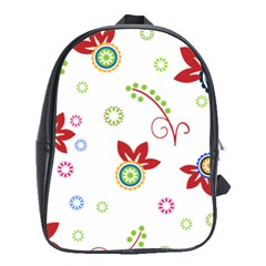 Colorful Floral Wallpaper Background Pattern School Bags (XL)