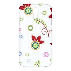 Colorful Floral Wallpaper Background Pattern Samsung Galaxy S4 I9500/i9505 Hardshell Case