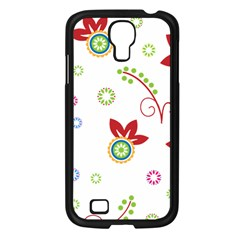 Colorful Floral Wallpaper Background Pattern Samsung Galaxy S4 I9500/ I9505 Case (black)