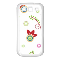 Colorful Floral Wallpaper Background Pattern Samsung Galaxy S3 Back Case (white)