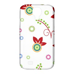 Colorful Floral Wallpaper Background Pattern Samsung Galaxy S4 Classic Hardshell Case (pc+silicone)