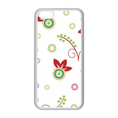 Colorful Floral Wallpaper Background Pattern Apple iPhone 5C Seamless Case (White)