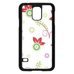 Colorful Floral Wallpaper Background Pattern Samsung Galaxy S5 Case (black)
