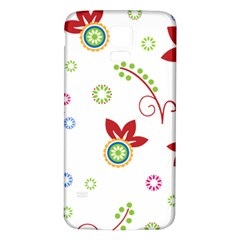 Colorful Floral Wallpaper Background Pattern Samsung Galaxy S5 Back Case (White)