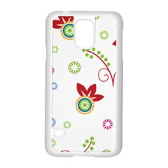 Colorful Floral Wallpaper Background Pattern Samsung Galaxy S5 Case (white)