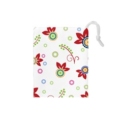 Colorful Floral Wallpaper Background Pattern Drawstring Pouches (Small)