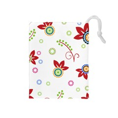 Colorful Floral Wallpaper Background Pattern Drawstring Pouches (medium)