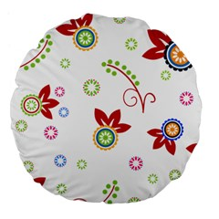 Colorful Floral Wallpaper Background Pattern Large 18  Premium Flano Round Cushions