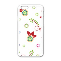 Colorful Floral Wallpaper Background Pattern Apple Iphone 6/6s White Enamel Case