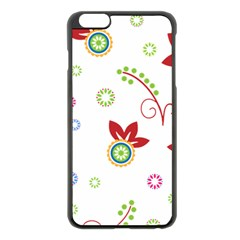 Colorful Floral Wallpaper Background Pattern Apple Iphone 6 Plus/6s Plus Black Enamel Case