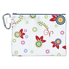 Colorful Floral Wallpaper Background Pattern Canvas Cosmetic Bag (xxl)