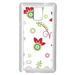Colorful Floral Wallpaper Background Pattern Samsung Galaxy Note 4 Case (white)