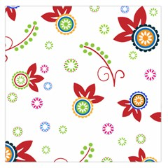 Colorful Floral Wallpaper Background Pattern Large Satin Scarf (square)